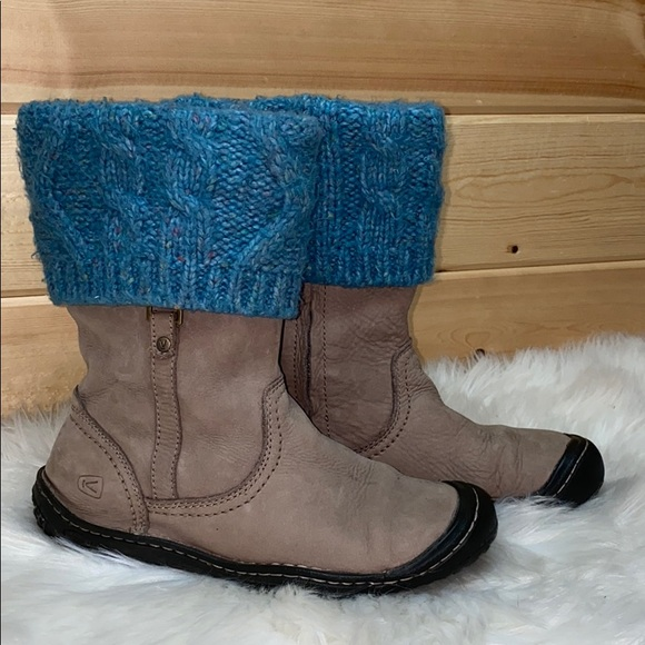 Keen Knit Suede Leather Cuff Boots 8